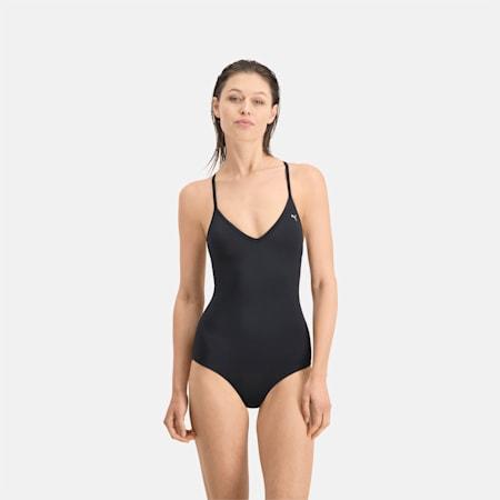 Bañador para mujer PUMA Swim V-Neck Crossback, black, small