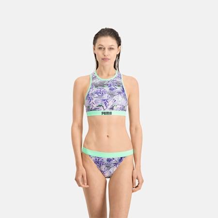 PUMA Women's Patterned Racerback Swim Top, purple, small