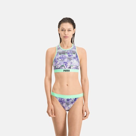 Wzorzysty biustonosz pływacki PUMA Swim, purple, small