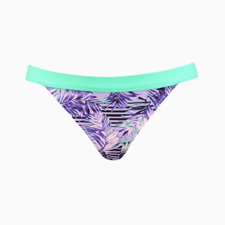 PUMA Swim Women's Patterned Bikini Brief, purple, small