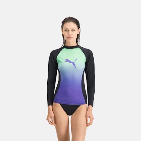 PUMA Swim Women's Gradient Long Sleeve Rash Guard, mint, small