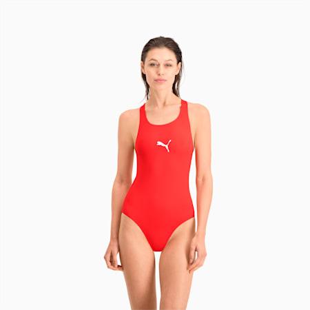 PUMA Swim Damen Racerback Badeanzug, red, small