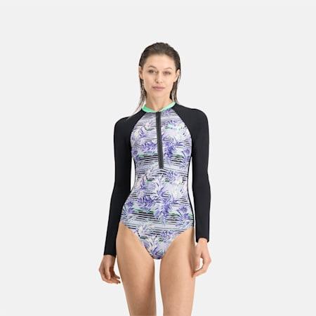 PUMA Swim Damen Gemusterter Langarm Surfanzug, black/purple, small