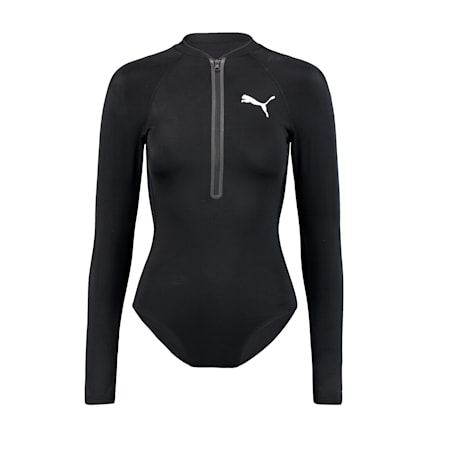 PUMA Swim Women's Long Sleeve Surf Suit, black, small