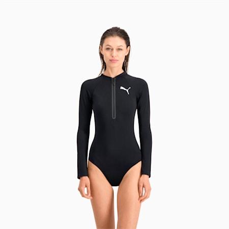 PUMA Swim Women's Long Sleeve Surf Suit, black, small-GBR