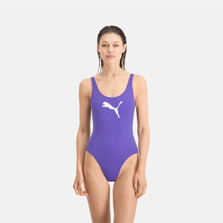 PUMA Swim Women's 1 Piece Swimsuit, purple, small