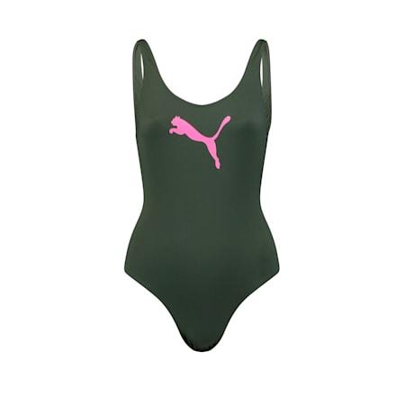 PUMA Swim Women's 1 Piece Swimsuit, thyme, small