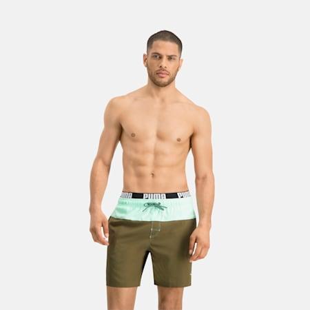 PUMA Swim Men's 2-Colour Logo Medium Length Swim Shorts, olive/mint, small