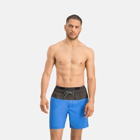 Dwukolorowe męskie szorty pływackie ośredniej długości PUMA Swim Logo, blue / grey, small