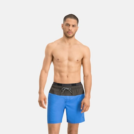 PUMA Swim Men's 2-Colour Logo Medium Length Swim Shorts, blue / grey, small