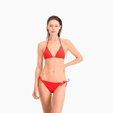 PUMA Swim Women's Bikini Bottoms Side Tie, red, small