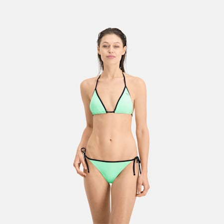 Slip bikini da donna con allacciatura laterale PUMA Swim, mint, small