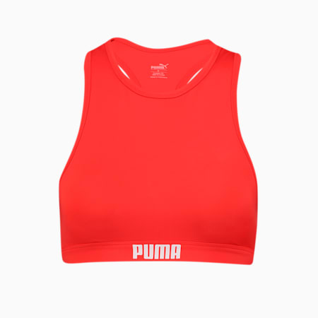 PUMA Swim Women's Racerback Swim Top, red, small