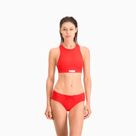 PUMA Swim Damen Racerback Bikinitop, red, small