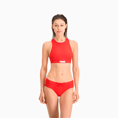 Top costume da bagno da donna con spalline incrociate sul retro PUMA Swim, red, small