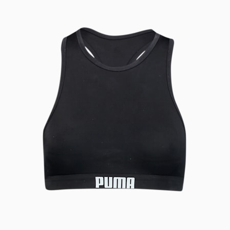 PUMA Swim Women's Racerback Swim Top, black, small