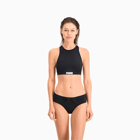 PUMA Swim Damen Racerback Bikinitop, black, small