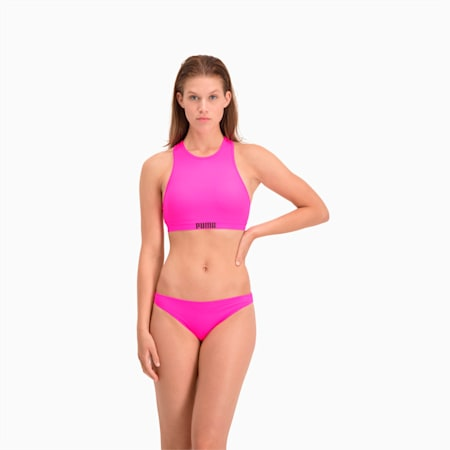 Górna część damskiego stroju kąpielowego PUMA Swim Racerback, glowing pink, small