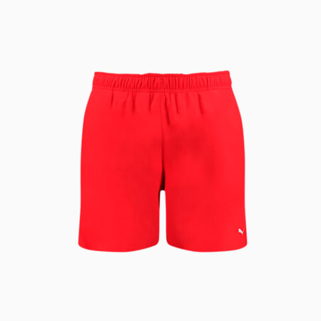 PUMA Swim Men's Mid-Length Swim Shorts -  Hidden Drawcord, red, small