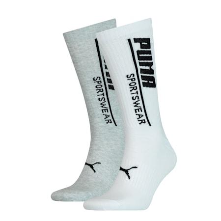 Confezione doppia di calze Seasonal Sportswear da uomo, white / grey, small