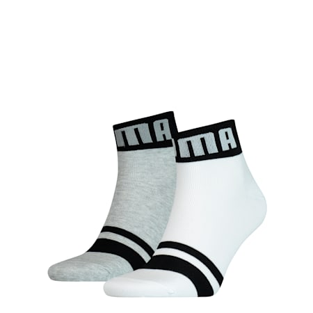 Seasonal Logo Men's Quarter Socks 2 Pack, white / grey, small