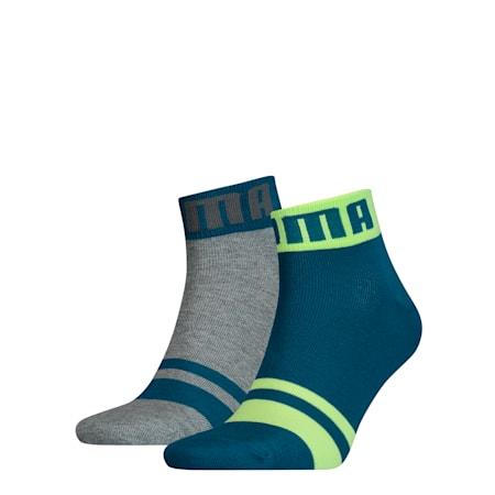 Seasonal Logo Herren Quarter-Socken 2er Pack, petrol blue, small