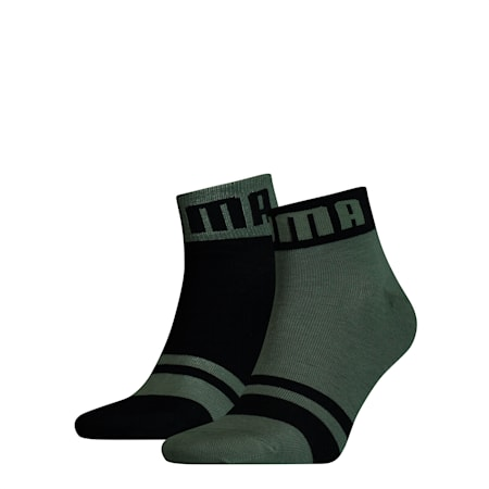 Seasonal Logo Men's Quarter Socks 2 Pack, army green, small