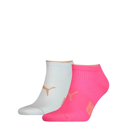 Confezione doppia di calze sportive a coste da donna, pink, small