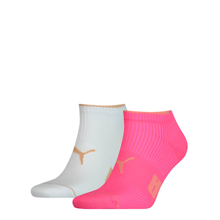 Ribbed Women's Trainer Socks 2 Pack, pink, small