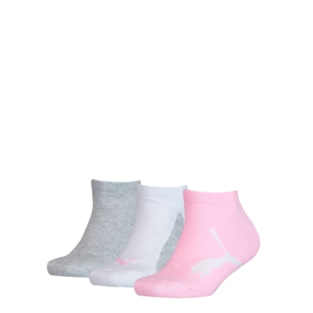 Youth Trainer Socks 3 Pack, pink / grey, small
