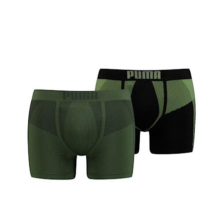 Confezione doppia di boxer Active senza cuciture da uomo, army green, small