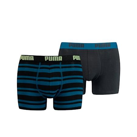 Confezione doppia di boxer a righe Heritage da uomo, petrol blue, small