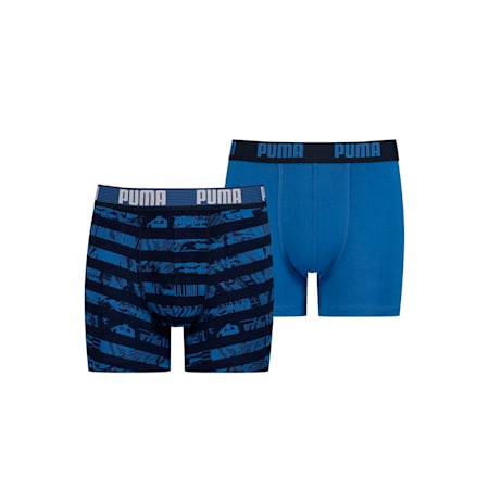 Collage Stripe Printed Youth Boxers 2 Pack, blue, small