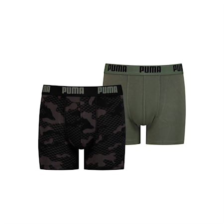 Camo Printed Youth Boxers 2 Pack, army green, small