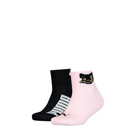 PUMA Kids' 2 Pack Quarter Socks, pink combo, small-SEA
