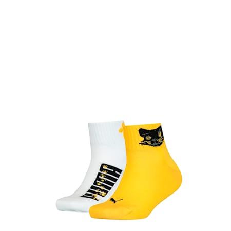 PUMA Kids' 2 Pack Quarter Socks, yellow, small-SEA
