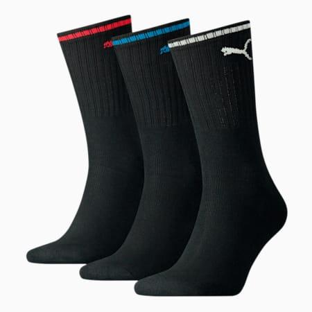 PUMA Unisex Sport Crew Stripe Socks 3 pack, black, small