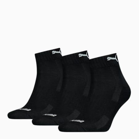 PUMA Unisex Cushioned Quarter Socks 3 pack, black, small