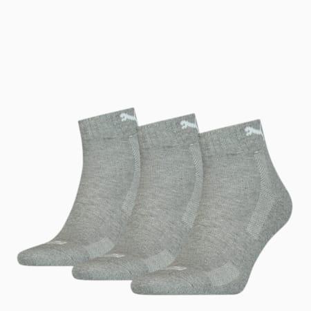 PUMA Unisex Cushioned Quarter Socks 3 pack, middle grey melange, small