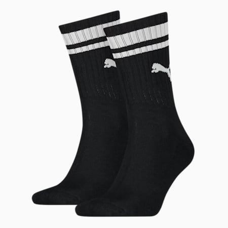 PUMA Unisex Crew Heritage Stripe Socks 2 pack, black, small