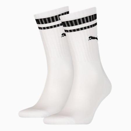 Crew Heritage Stripe Unisex Socken 2er Pack, white, small