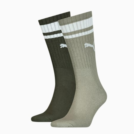 PUMA Unisex Crew Heritage Stripe Socks 2 pack, dark green, small