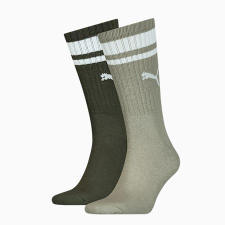 Unisex Crew Heritage Stripe Socks 2 pack, dark green, small-GBR
