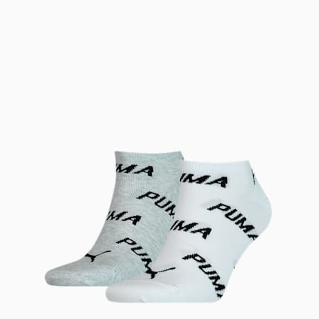 PUMA Unisex BWT sneakersokken, set van 2, white / grey / black, small