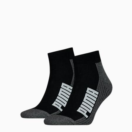 PUMA Unisex BWT Cushioned Quarter Socks 2 pack, black / white, small