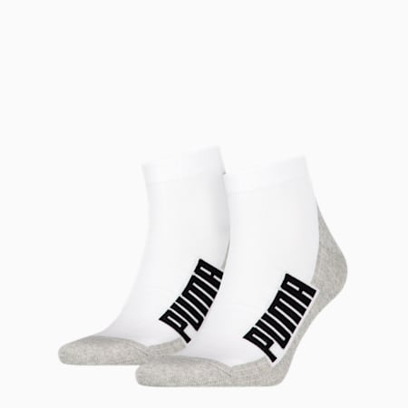 PUMA Unisex BWT Gepolsterte Quarter-Socken 2er Pack, white / grey / black, small
