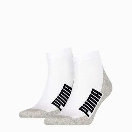 PUMA Unisex BWT Cushioned Quarter Socks 2 pack, white / grey / black, small