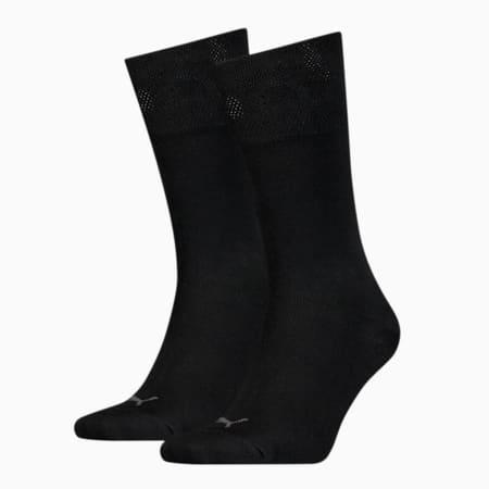 Męskie skarpetki klasyczne z bawełny pique, 2 pary, black, small