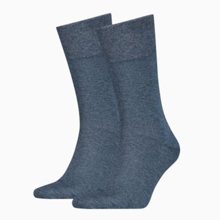 Men's Classic Piquee Socks 2 pack, denim blue, small-GBR