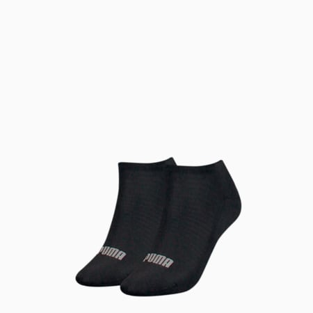 PUMA Women's Sneaker Trainer Socks 2 pack, black, small